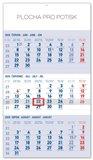 Obálka knihy Nástěnný kalendář 3měsíční standard modrý – s českými jmény 2020, 29,5 × 43 cm